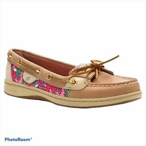 Sperry Angelfish Linen/Berry Floral Sequin Loafers